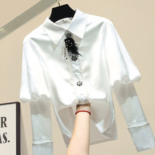Spring Clothing Women's Chiffon Cool Lantern Long Sleeve Slim Fit Beads Shirt Women's Tops Blouses Blusa Mujer White Black Color(China)
