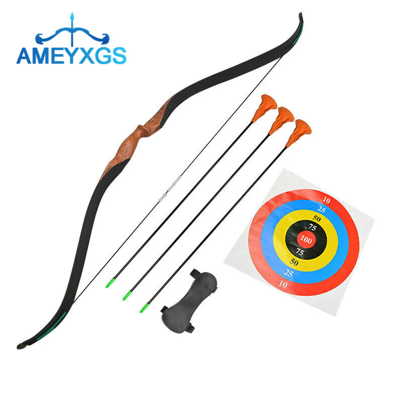 Archery Youth Recurve Bow Arrow Set Wooden Archery Junior Target Children Kids Gift For Training Shooting Practice Accessories