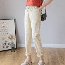Spring 2020 Women Pants Autumn Bow Tie Cotton Linen Leisure Pencil Pants Hot Fashion Sweet Solid Stretch Ankle Length Pants