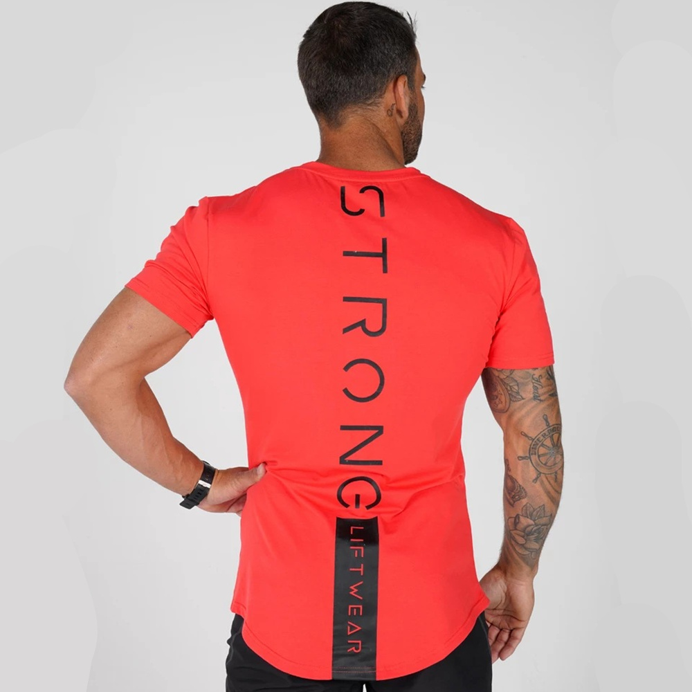 Casual Cotton Print T Shirt Men Gyms Fitness Short Sleeve T-shirt Male Bodybuilding Workout Tees Tops Summer New Clothes Apparel
