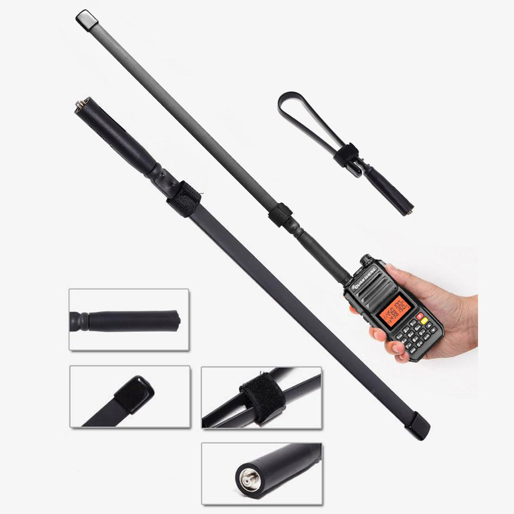 High gain CS tactical outdoor walkie talkie folding ruler antenna UV double-section SMAfemale For Baofeng UV-5R UV-82 BF-888S