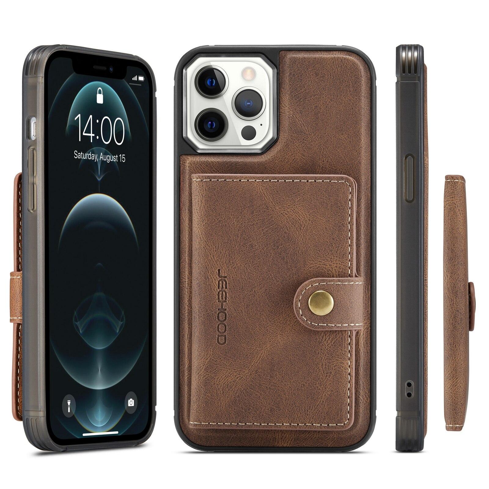 H5b55834aa5784bfa89739042334e4e4c3 Capinha case Capa traseira para o iphone 12 11 pro max xs xr x se 2020 8 7 plus caso do telefone com suporte de cartão de couro magnético destacável carteira saco