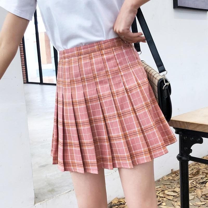 Women Pleat Skirt Harajuku Preppy Style Plaid Skirts Mini Cute Japanese School Uniforms Ladies Jupe Kawaii Skirt Saia Faldas2020