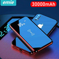 Qi carregador sem fio 30000 mah power bank para iphone 11 xs max samsung power bank carregador usb duplo sem fio banco de bateria externa