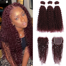Human-Hair-Bundles Closure Kinky Curly Brazilian-Hair Kemy-Hair 99j/burgundy with 4x4
