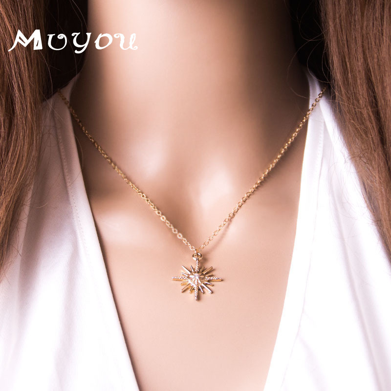 Fashion Sun Star Shaped Pendant Necklace Modern Ladies Alloy Gold Clavicle Chain Dating Romance Beautiful Woman Jewelry XL936