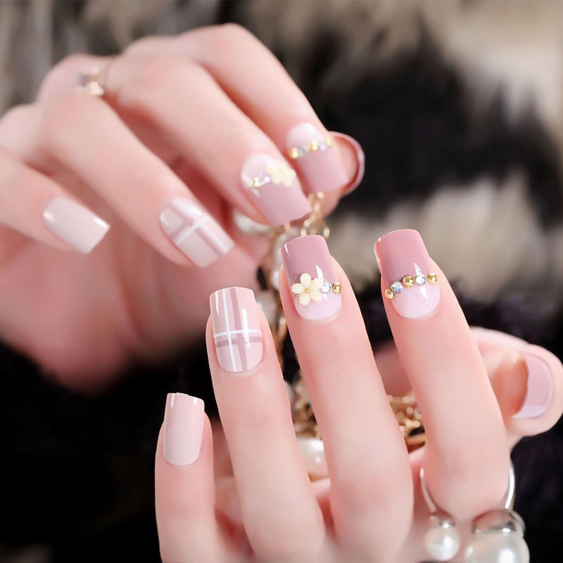 New Style Manicure Fake Nails Nail Tips Nail <font><b>Sticker</b></font> 24 PCs Boxed Fresh Flower Diamond Set <font><b>Kim</b></font> AL14 image
