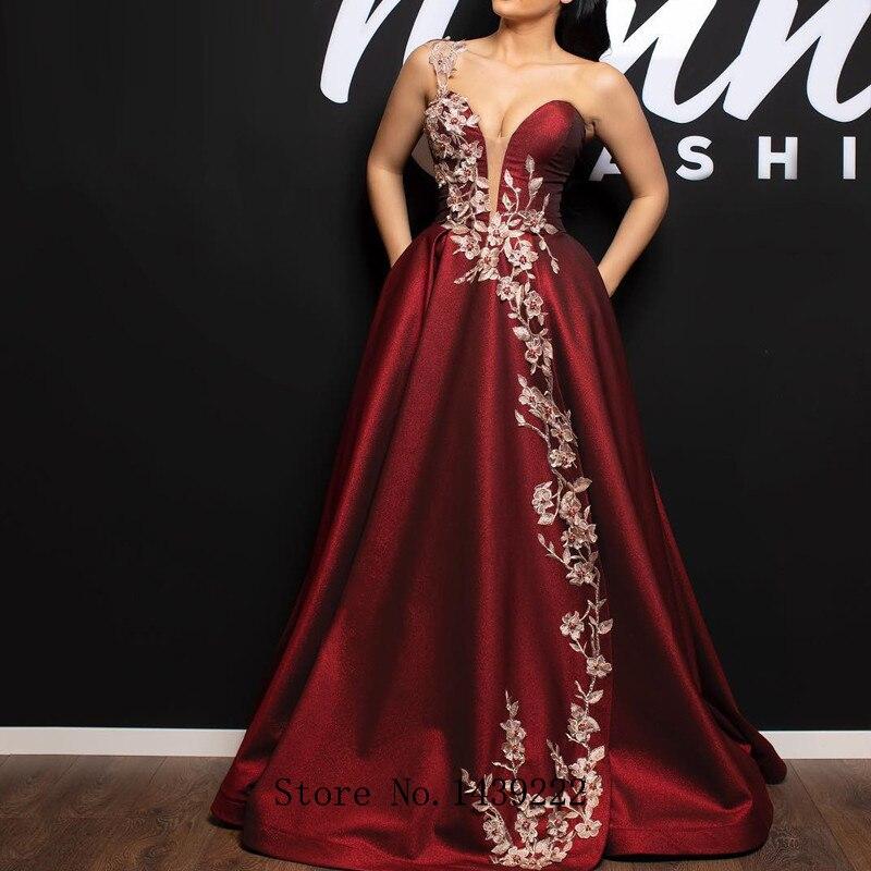 Graceful Burgundy Satin Evening Dresses Prom Lace Appliques Arabic Vestidos De Fiesta De Noche Robe De Soiree Plus Size