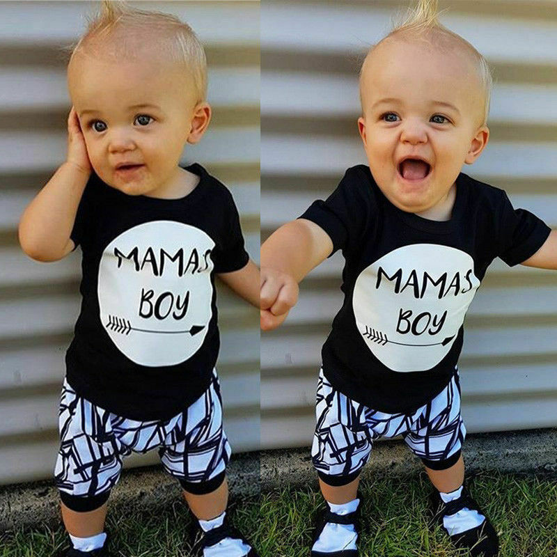 Newborn Infant Baby Boy Toddler Cotton T-shirt Tops Pants Summer Outfit Clothes