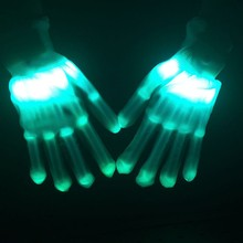 Adult Halloween Unique LED Luminous Gloves Lighting Flashing Finge Colorful Skeleton Gloves Dance Club Party Halloween Supplies halloween colorful finger glow led gloves