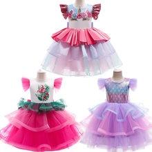 2021 Flamingo Mermaid Cosplay Costume Summer New Style Girl Cute Fairy Elegant Net Yarn Unicorn Catwalk Show Princess Dress