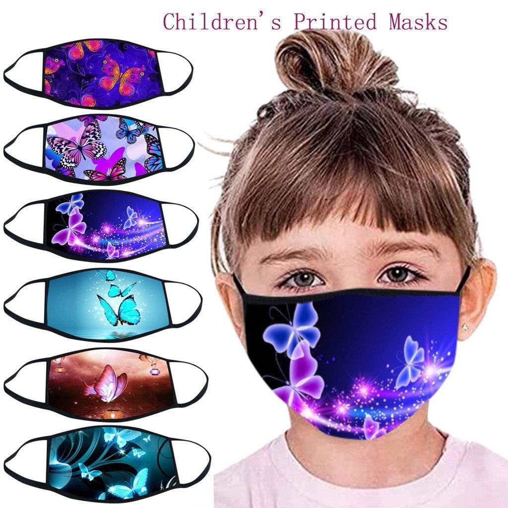 Детская 3d маска для улицы, хлопковая маска для лица с принтом бабочки, пылезащитная моющаяся маска для рта, маски, детская маска
