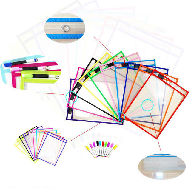 10pcs Resuable DryErase Pocket Bag Reusable Sleeves Kid Write Wipe Tool Pock Pockets Bags 4