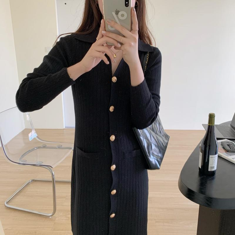 H5b56a60a1d01423f9d804a146303839b6 - Autumn Turn-Down Collar Soft Slim Solid Long Sweater Dress