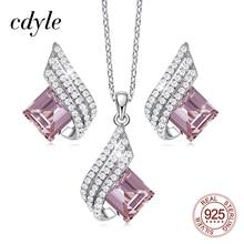 Cdyle Minimalist Dainty Pink Zircon Pendant Necklace Earrings Set Wedding Bridal Jewelry Sets for Women Silver 925 Flying Wings