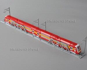 Diecast Doppel Decker Zug Modell Spielzeug Metro U-bahn Pull Zurück Miniatur Replica w/ Track