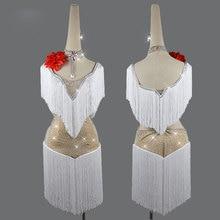 Latin dance dress childrens ladies performance group white tassel skirt shiny sexy