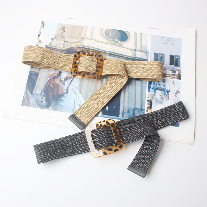 New Vintage Knitted Wax Rope Wooden Bead Waist Rope Women Smooth Buckle Belt Woman Woven Female Hand-Beaded Braided Belt  BZ12