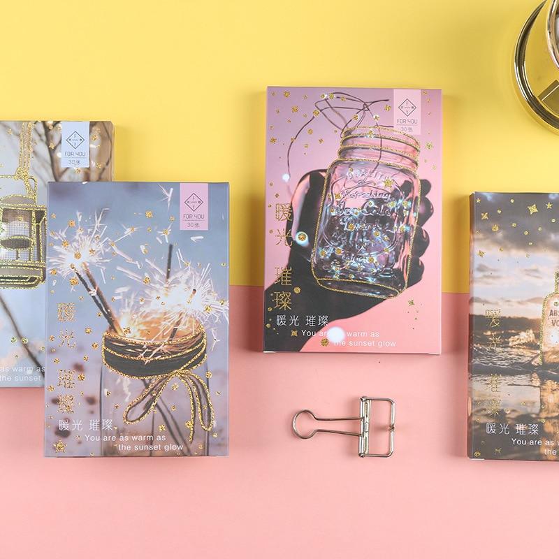 30 Sheets/Set Warm Sunset Glow Bronzing Postcard Birthday Bussiness Gift Card DIY Journal Decoration