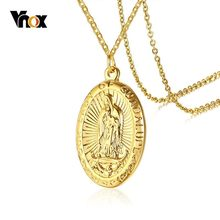 Vnox Edelstahl Herren Halsketten Jungfrau Maria Anhänger Gold Ton Religiöse Gebet Schmuck 20