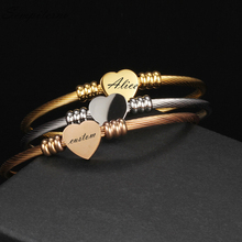 Custom Heart Bracelets Engraved Names Stainless Steel Bangles For Best Friend Jewelry 3 Colors High Quality