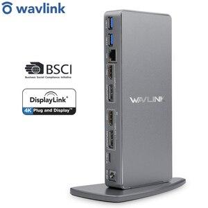 Image 1 - Wavlink estación de acoplamiento Universal USB 3,0 para ordenador portátil, estación de acoplamiento de vídeo Dual 4K, HDMI, HD, Gigabit, Ethernet, tipo C, USB 3,0, para MAC