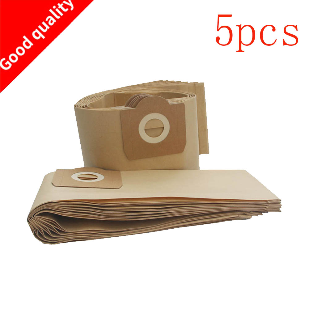 5 uds bolsas de aspiradora bolsa de papel para filtro de polvo para Karcher A2204 A2656 WD3200 WD3300 para Rowenta RB88 RU100 RU101 1 Uds filtros Hepa polvo + 5 uds bolsas de papel para aspiradoras Karcher partes cartucho HEPA filtro A2204 VC6100 A2004 WD3.200 VC6200