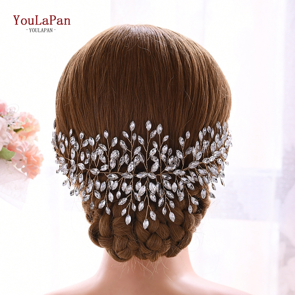 YouLaPan HP237-G Golden Wedding Accessories For Bride Hair Crystal Wedding Headband  Bridal Headpieces Delicate Hair Vine
