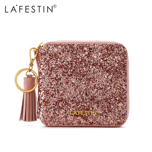 Lafestin Brand Wallet 2018 New Glitter Sequin Purse Luxury Fashion Sequin Coin Purse Lady Credit Card Holder Female Wallet(China)