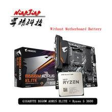 Amd ryzen 5 3600 r5 3600 cpu + ga b550m aorus elite placa-mãe terno soquete am4 todos os novos mas sem refrigerador