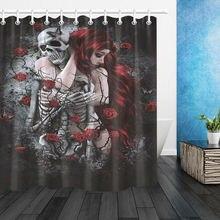 Beauty & Skeleton Death Rose Shower Curtain Set Bath Curtain