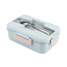 Portable Stainless Steel Lunch Box Microwave Lunch Box Wheat Straw Dinnerware Adult Children Food Container Home Lunch Box