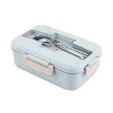 Przenośne pudełko na lunch ze stali nierdzewnej pojemnik na lunch do mikrofali słomy pszenicy obiadowy dla dorosłych dzieci pojemnik na jedzenie domu pudełko na lunch