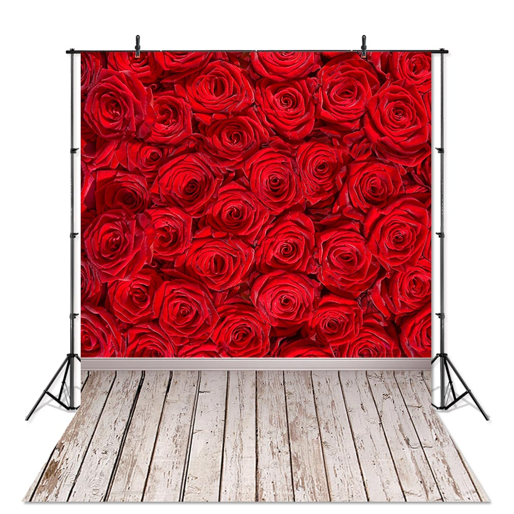 Wooden Board and Roses Wedding Baby Photography Background Custom Photography Studio Photography Background