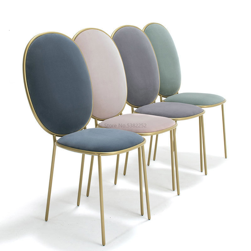 Ins Iron Light Luxury Dining Chair Restaurant Ready Theme Stool Adult Chair To Work In An Office Chair Solo Flannelette Chair