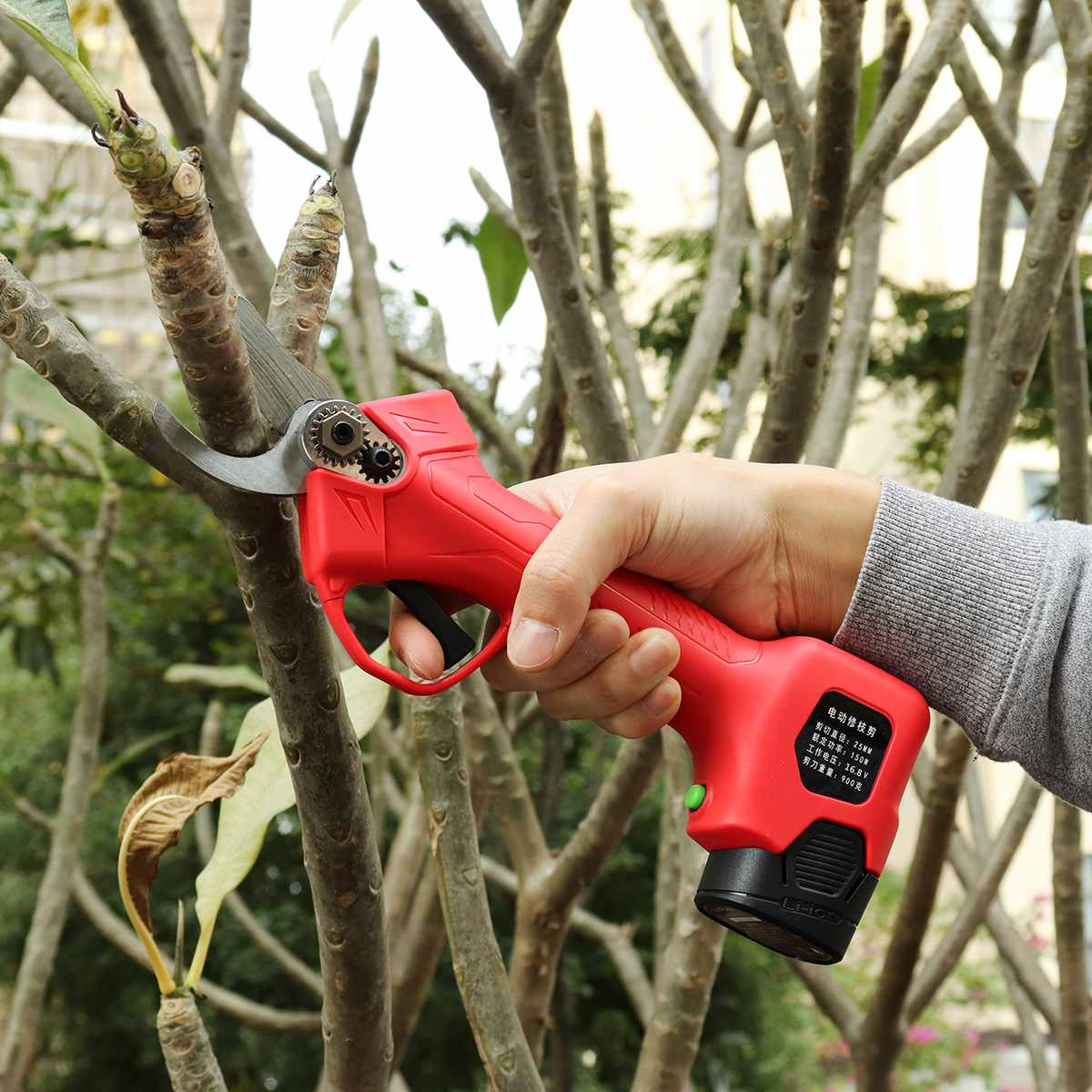 Wireless 16.8V 25mm Electric Garden Scissor for Brach Pruning with Li-ion Battery and USB Charger 13