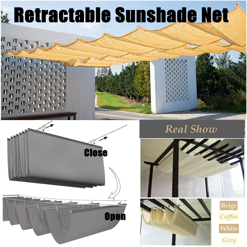 Custom-Tailor 2M Width Retractable Sunshade Net Beautiful Patio Pavilion Telescopic Wave Sails Outdoor Swimming Pool Awning