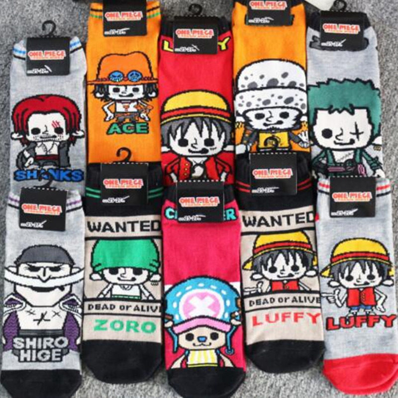 Originality One Piece Cos Socks Plaid Striped Cartoon Luffy Usopp Shanks Zoro Sock Casual Personality Funny Anime Cotton Socks