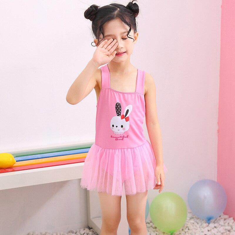 KID'S Swimwear Hipster Cartoon Pattern Mesh Dress Princess Style GIRL'S One-piece Swimming Suit Infants Swimwear