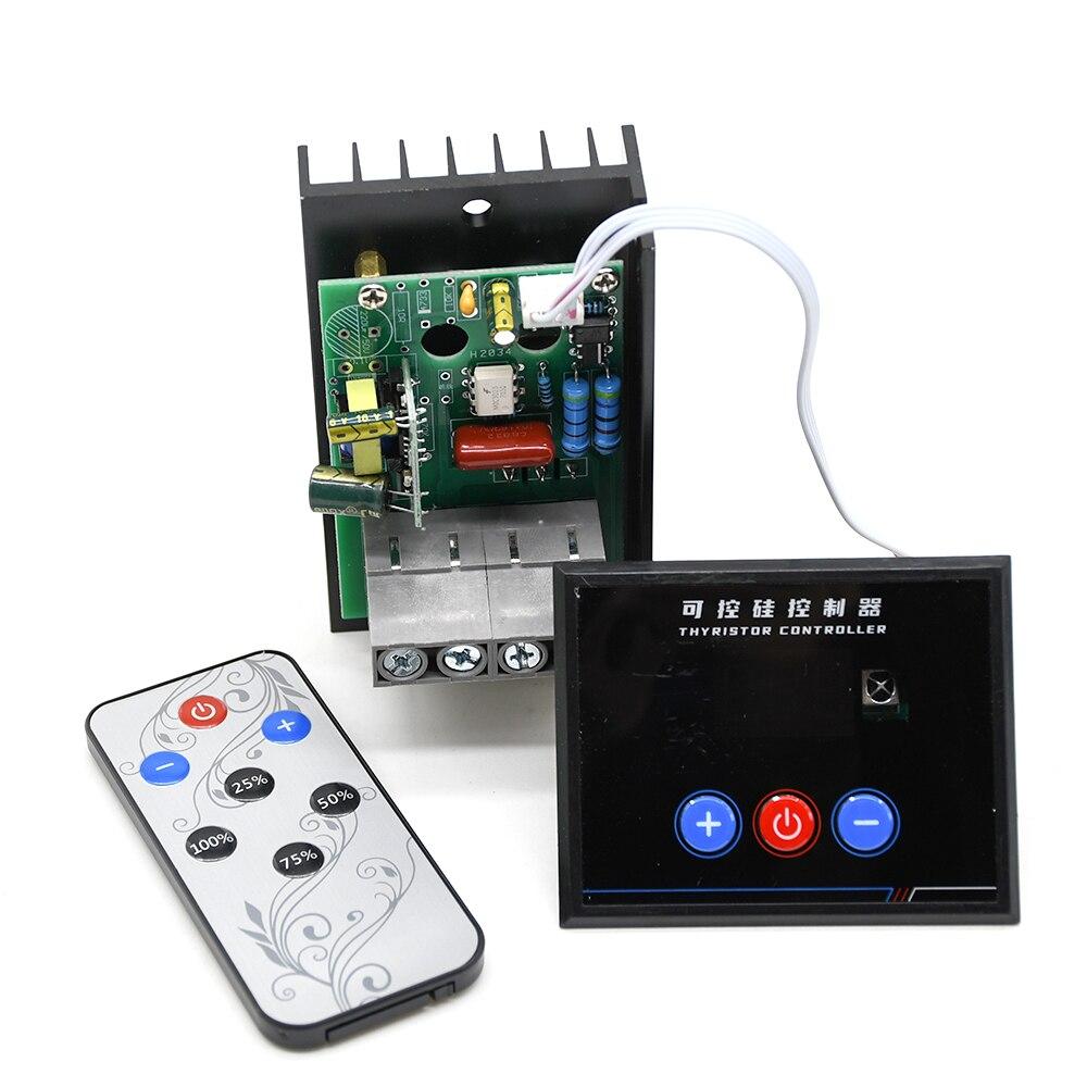 Regulador de voltaje electrónico AC 220V 6KW 6000W SCR, Control de velocidad/regulador/termostato AC-AC potencia Buck con mando a distancia