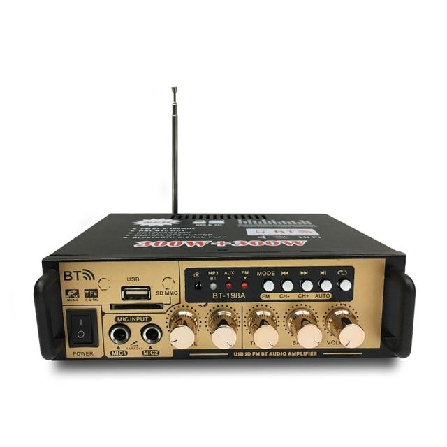 Hot 3C 600W Audio Power Amplifier with EU Plug 12/220V 2CH Mini HIFI Bluetooth Digital Audio Amp for Home /Car