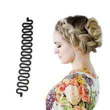 Trenzado de Cabello herramienta rodillo con gancho de pelo magia giro moño Para peinado de Мишура Ligas Para Cabello pinza Para el pelo mujer Канекалон