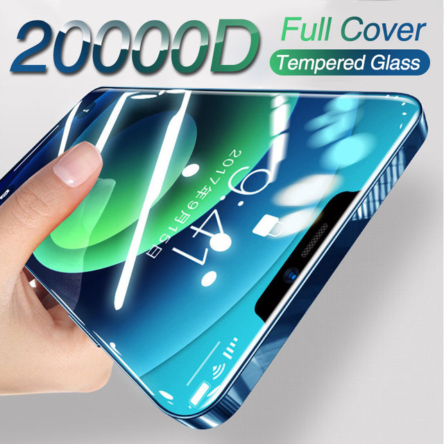 2PCS Full cover tempered protective glass on for iphone 12 mini 11 pro max iphone x xr xs max Curved Edge screen protector film 1