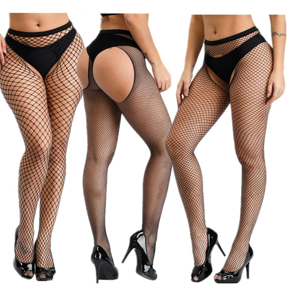 Сексуальные женские чулки без косточек, Сексуальное эротическое белье, чулки большого размера, ажурные колготки размера плюс, женские колг...
