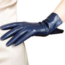 Damskie oryginalne skórzane rękawiczki damskie nowe stylowe ciepłe z pluszową wyściółką jesienne zimowe kożuchy rękawice do jazdy L085NC4