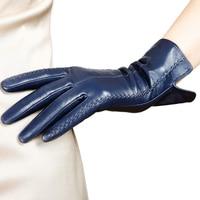 Women's Genuine Leather Gloves Female New Stylish Warm Plush Lined Autumn Winter Sheepskin Driving Mittens L085NC4