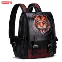 New Men's Backpack Male School Shoulder Bag Laptop Backpacks College Big Bags Tiger Head Hand carved Leather Top Layer Leather