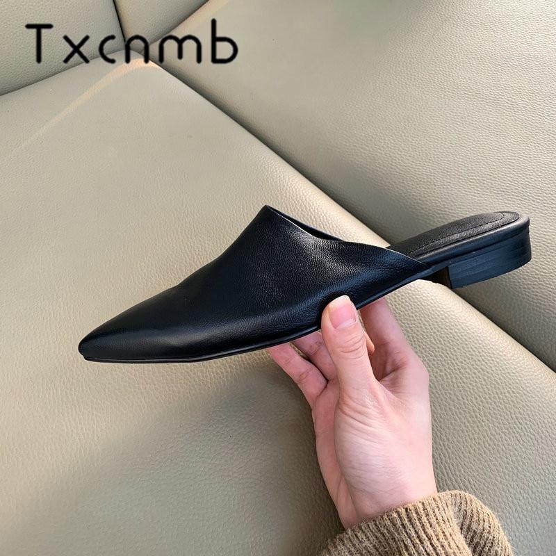 TXCNMB confortable femmes décontractée chaussures plates dames mules 2019 nouveauté en peau de mouton cuir bout pointu sans lacet grande taille 41 42-in Chaussures plates femme from Chaussures    1