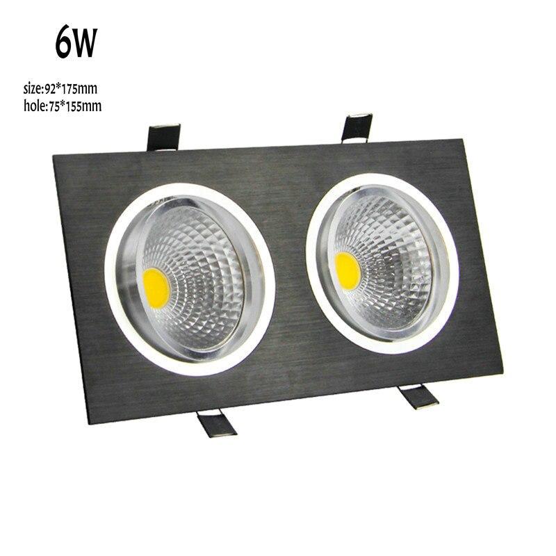 2018 nova cabeça dupla cree led quadrado downlight 6w cob recesso teto para baixo lâmpada de luz para casa