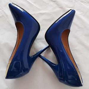 Image 2 - אופנה גבוהה עקבים משאבות אישה נעלי ירוק עירום אדום כחול נשים של נעלי מפלגה נעלי חתונת משרד גבירותיי גדול גודל 44 47